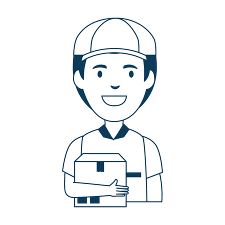 delivery worker with box avatar character vector illustration design Foto de archivo - 103719778