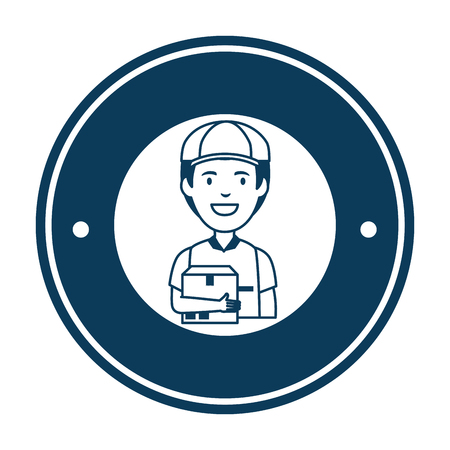 delivery worker with box avatar character vector illustration design
