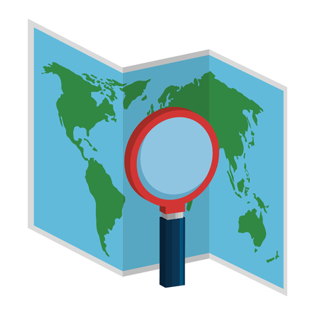 map paper with magnifying glass vector illustration design
