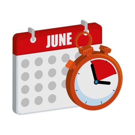 timer chronometer with calendar vector illustration design