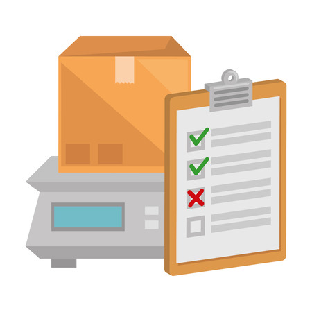 packing box carton with checklist and gramer vector illustration design