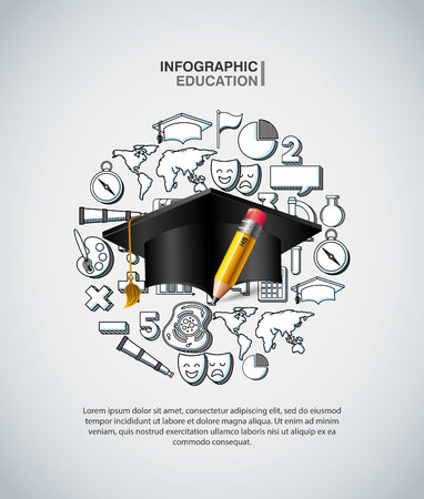 infographic education presentation icons vector illustration design 矢量图像