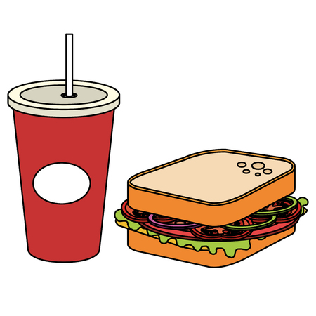 soda with delicious fast food vector illustration design