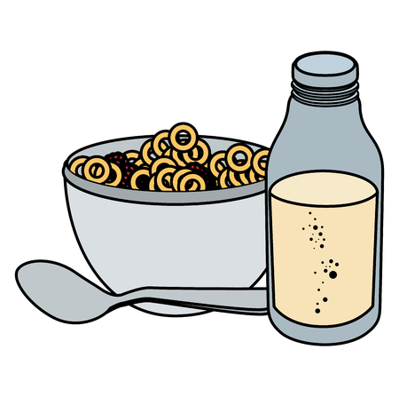 milk bottle with cereal vector illustration design 版權商用圖片 - 104028270
