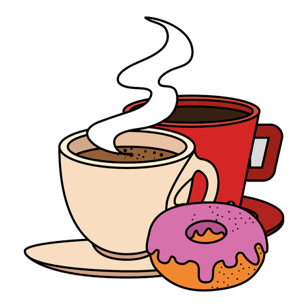 Taza de café con diseño de ilustración de vector de producto de pastelería Foto de archivo - 104028344