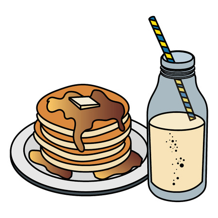 milk bottle with pancakes vector illustration design