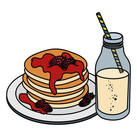 milk bottle with pancakes vector illustration design Banco de Imagens - 104028355