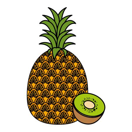 fresh and healthy fruits vector illustration design