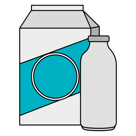 milk bottle and box vector illustration design Illustration