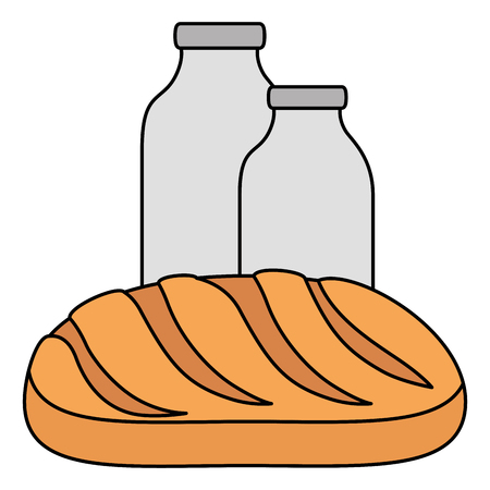 milk bottle with bread vector illustration design