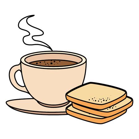 Taza de café con diseño de ilustración de vector de producto de pastelería Foto de archivo - 104028499
