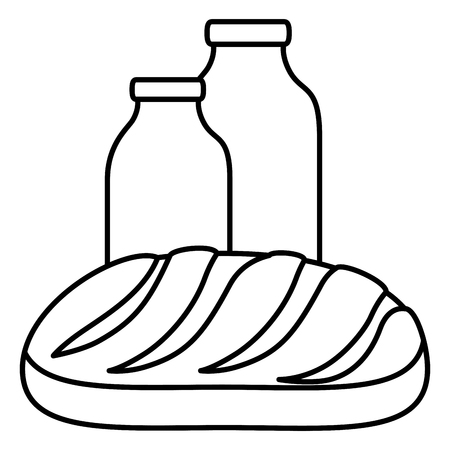 milk bottle with bread vector illustration design