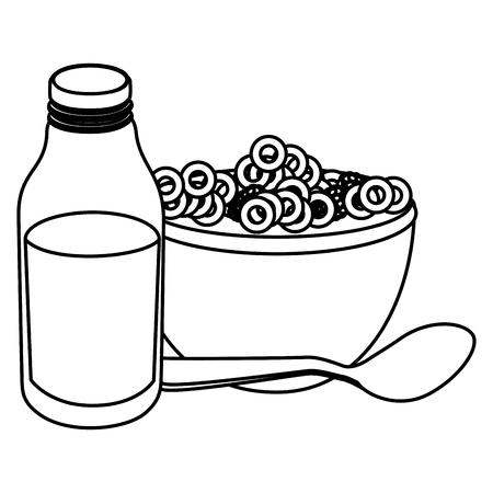 Botella de leche con diseño de ilustración de vector de cereales Foto de archivo - 104028531