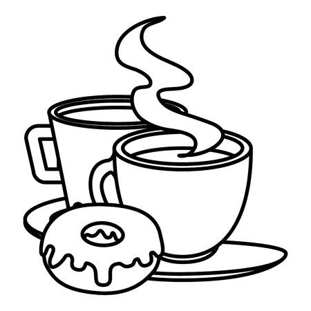 Taza de café con diseño de ilustración de vector de producto de pastelería Foto de archivo - 104028540