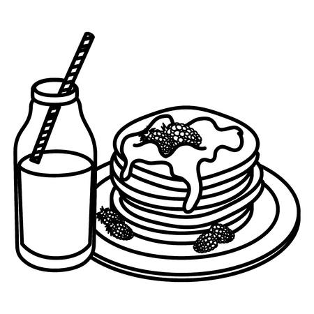 pancakes with syrup maple vector illustration design Banco de Imagens - 104028541