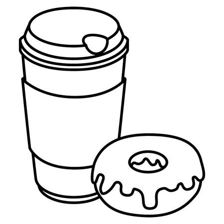 Taza de café con diseño de ilustración de vector de producto de pastelería Foto de archivo - 104028570