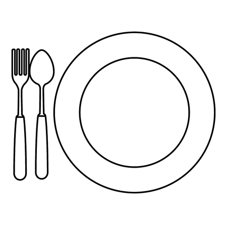 dish with fork and spoon vector illustration design  イラスト・ベクター素材