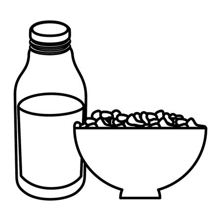 Bouteille de lait avec des céréales illustration vectorielle conception Banque d'images - 104028627