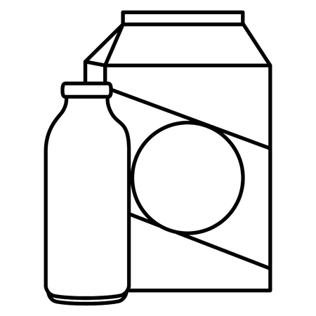 milk bottle and box vector illustration design Illusztráció