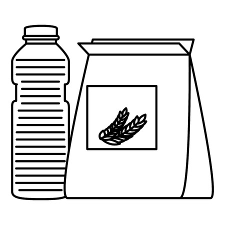 wheat bag with juice fruit bottle vector illustration design