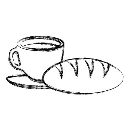 Taza de café con diseño de ilustración de vector de producto de pastelería Foto de archivo - 104028687