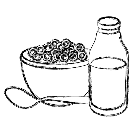 milk bottle with cereal vector illustration design