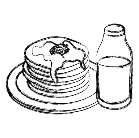 pancakes with syrup maple vector illustration design