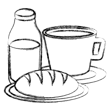 Taza de café con diseño de ilustración de vector de producto de pastelería Foto de archivo - 104045755