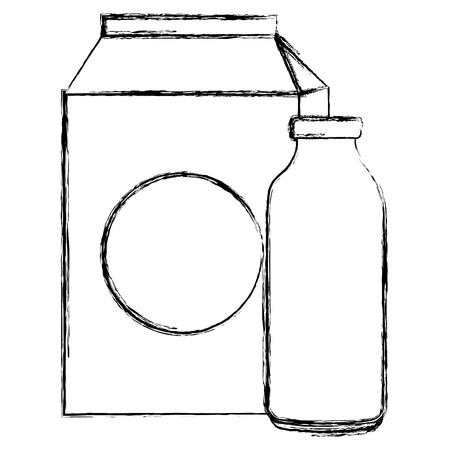 milk bottle and box vector illustration design Ilustração