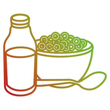 milk bottle with cereal vector illustration design