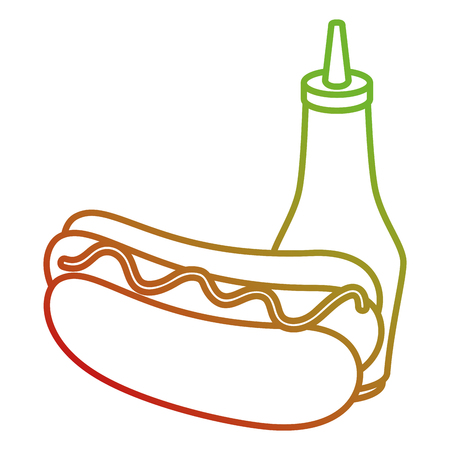 hot dog with sauces vector illustration design