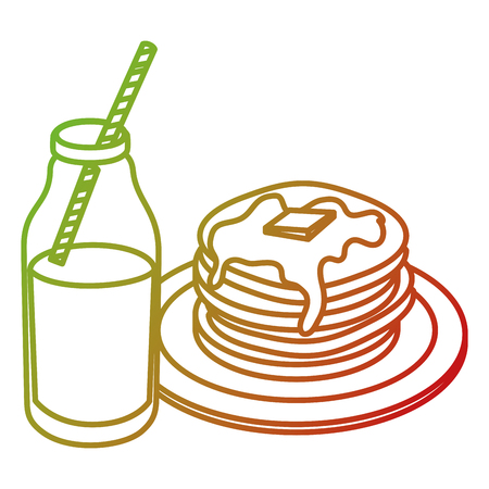 pancakes with syrup maple vector illustration design Banco de Imagens - 104045853