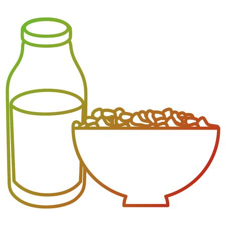 Botella de leche con diseño de ilustración de vector de cereales Foto de archivo - 104045883