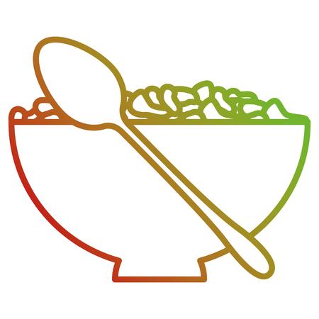 Plato de cereales con cuchara ilustración vectorial de diseño Foto de archivo - 104045891