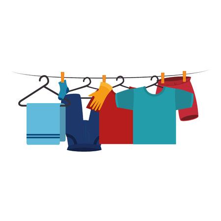 vestiti che si asciugano sul disegno dell'illustrazione di vettore del filo Vettoriali
