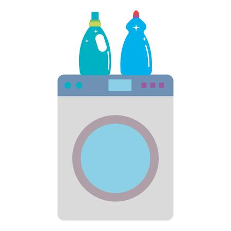 Lavar la máquina de lavandería servicio de ilustración vectorial de diseño Foto de archivo - 104046066