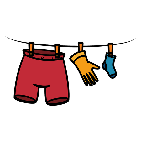 clothes drying on wire vector illustration design Reklamní fotografie - 104046202