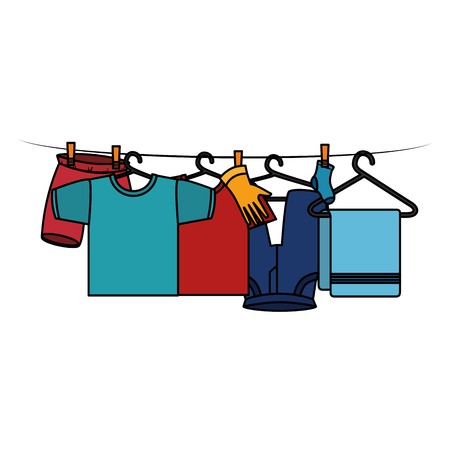 clothes drying on wire vector illustration design Çizim
