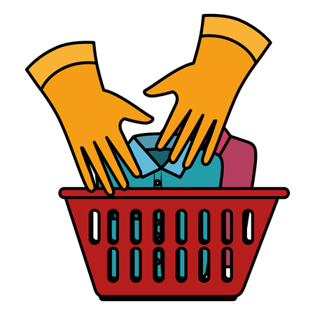 laundry service basket equipment vector illustration design Ilustração