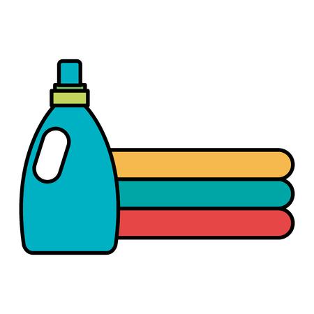 Ropa doblada con diseño de ilustración de vector de botella de detergente Foto de archivo - 104046241