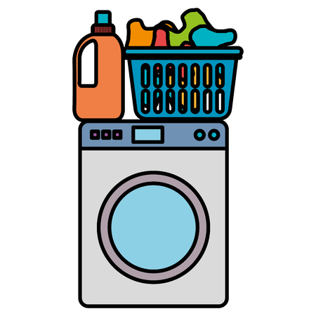 wash machine laundry service vector illustration design  イラスト・ベクター素材