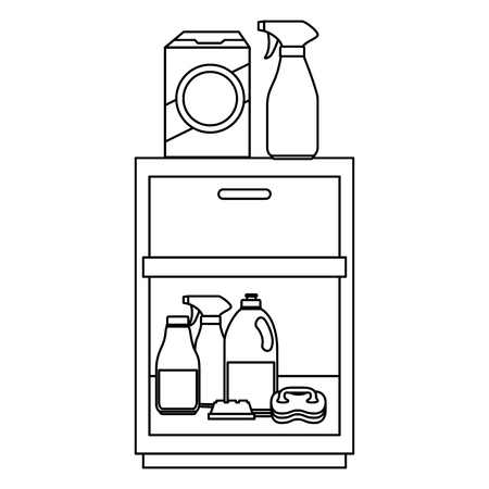 laundry drawer with housekeeping products vector illustration design Çizim