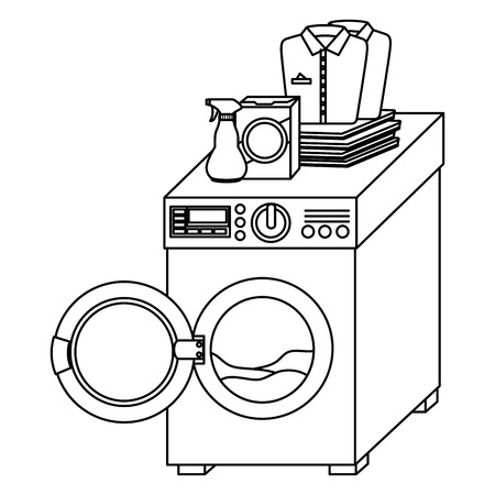wash machine laundry service vector illustration design