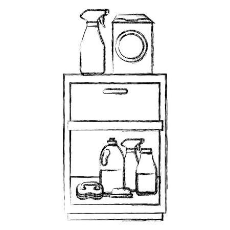 laundry drawer with housekeeping products vector illustration design Ilustrace