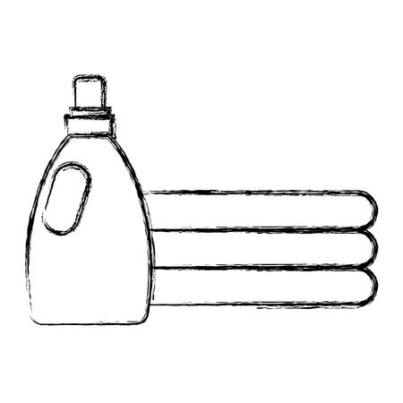 clothes folded with detergent bottle vector illustration design Illustration