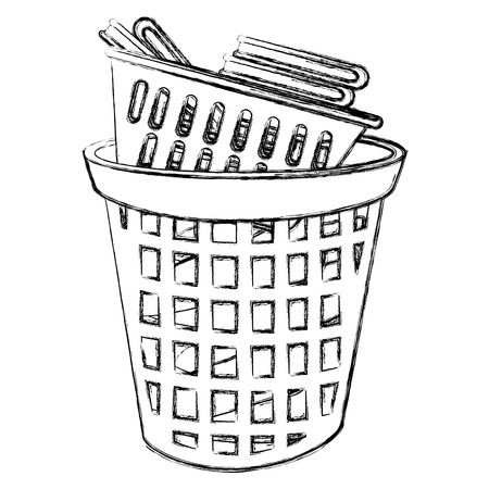 laundry service plastic bin vector illustration design Vectores
