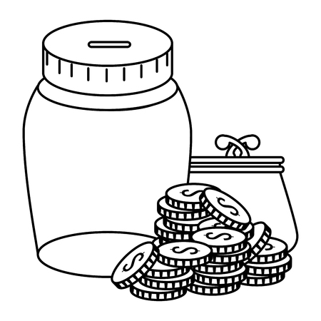 coins money with wallet and jar vector illustration design Ilustração
