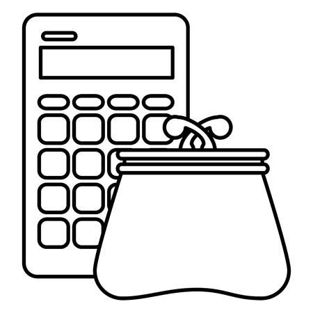calculator with wallet icon vector illustration design Standard-Bild - 104079382