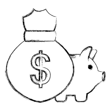 money bag with piggy savings vector illustration design  イラスト・ベクター素材