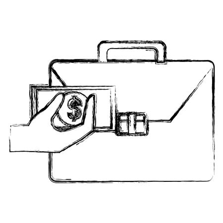 hand with bills and portfolio vector illustration design Illusztráció